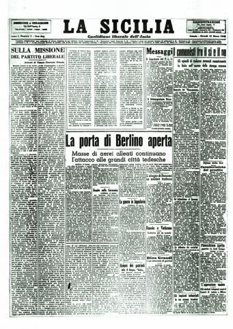 prima pagina La Sicilia 1945